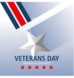 Happy veterans day honoring all who served medal vector