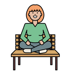 Happy young woman seated in park chair vector