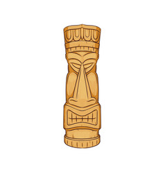 hawaiian tiki statue - wooden totem face sculpture vector image