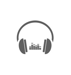 Headphones with music icon on white background vector