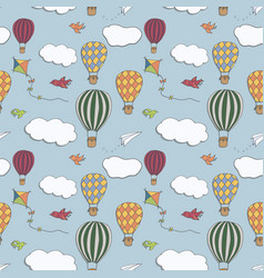 Hot air baloons seamless pattern vector