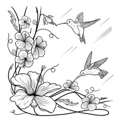 Humming-birds and flowers vector