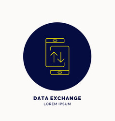 icon data exchanges on the smartphone vector image