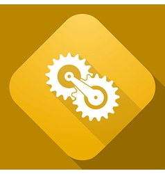 icon of Gears with a long shadow vector image