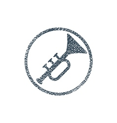 icon of trumpet with hand drawn lines texture vector image