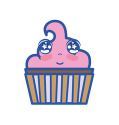Kawaii cute tender muffin dessert vector