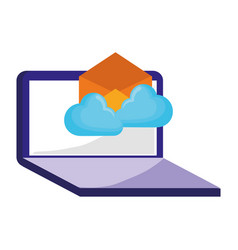 laptop email cloud computing on white background vector image