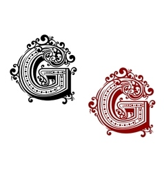 Letter G with ornamental flourishes vector