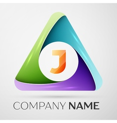 Letter j logo symbol in the colorful triangle vector