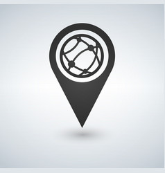 map pointer globe internet flat icon flat design vector image