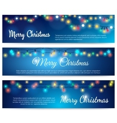 Merry Christmas blue banners with garland vector