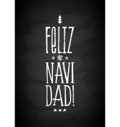 Merry Christmas Chalk Board Lettering in Spanish vector