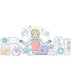 Mindfulness at work - modern line design style vector