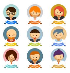 Office cartoon character avatars with ribbons vector