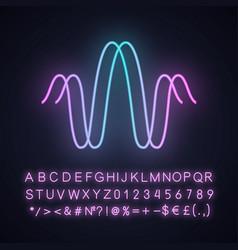 Parallel sound waves neon light icon digital vector