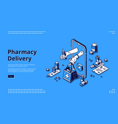 pharmacy delivery online service isometric landing vector image