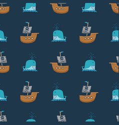 pirate boat and whale seamless pattern cute vector image