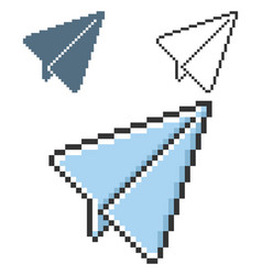 pixel icon paper plane in three variants fully vector image