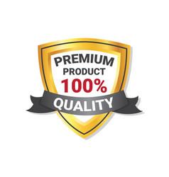 premium quality product label golden shield vector image