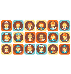 Profession people icons set professional human vector