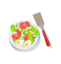 Salad With Eggs And Fresh Organic Vegetables vector