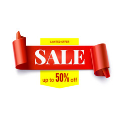 sale realistic curved red banner isolated on vector image