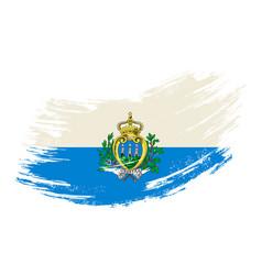 San marino flag grunge brush background vector