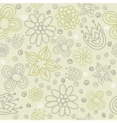 seamless pattern with colored flowers vector image
