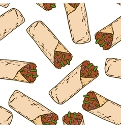 Seamless Pattern with Tasty Mexican Burrito vector image