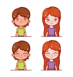 set cute boy and girl with hairstyle and blouse vector image