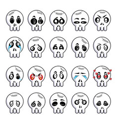 set different cartoon cute skulls vector image