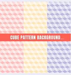 set of cube pattern pink purple yellow color vector image