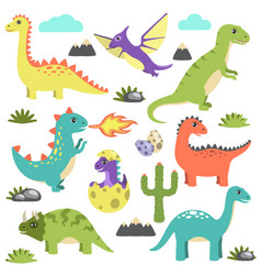 Set of dinosaurs icons on vector