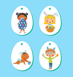 set of easter tags labels with children with eggs vector image