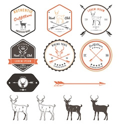 Set of vintage deer icons emblems and labels vector