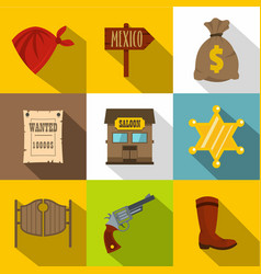 sheriff icons set flat style vector image