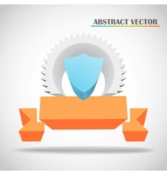 Shield and ribbon 3d vector