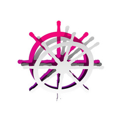 ship wheel sign detachable paper with vector image