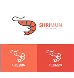 shrimp and seafood logo design template vector image
