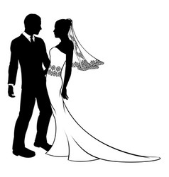 Silhouette of bride and groom wedding couple vector