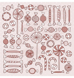 Sketch Candies Sweets Hand Drawn Objects Set vector
