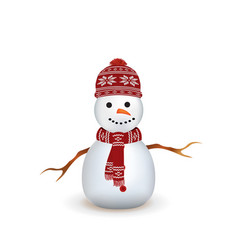 snowman with red knitted scarf and hat vector image