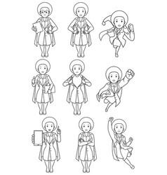 super doc african female line art vector image
