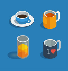 tea coffee and juice cups isometric flat icons vector image