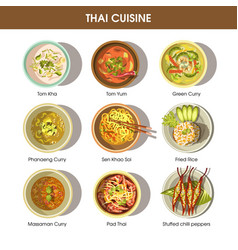 Thai food cuisine icons for restaurant menu vector
