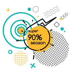 total sale 90 percent off isolated geometry shapes vector image