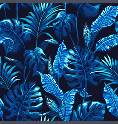 Tropical seamless pattern with palm leaves vector