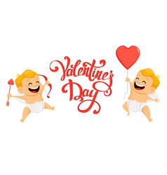 valentines day greeting card with cute cupid vector image
