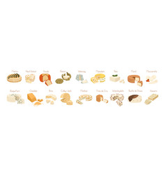 Various types cheese set realistic vector