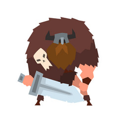 Viking warrior character with sword in helmet with vector